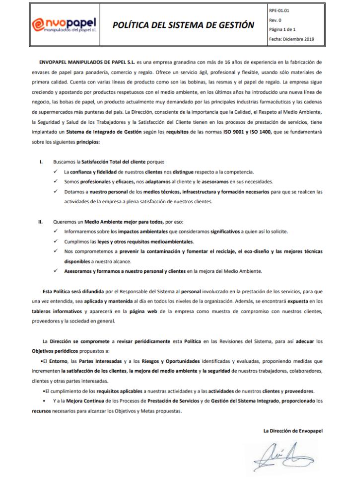 RPE 01 01 Política del sistema Gestion 2020-MR